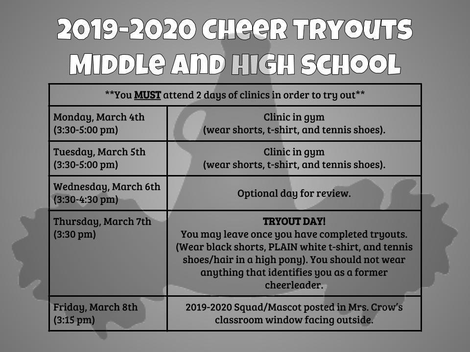 2019-2020 Cheer Tryouts